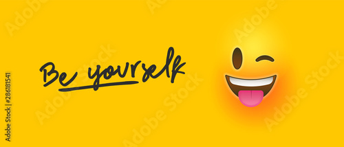 Fotografie, Obraz Wink 3d smiley face with be yourself text quote