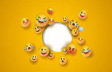 Fun Yellow Emoji Icon White Ci...