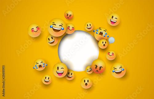 Fun yellow emoji icon white circle cutout template Canvas Print