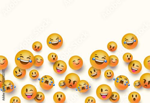 3D fun emoji icon seamless pattern background Canvas Print