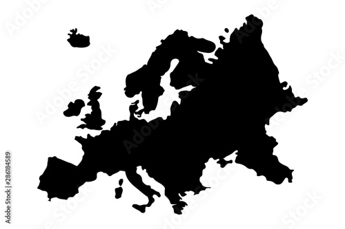Europe Map Silhouette Vector illustration