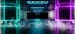 canvas print picture - Smoke Futuristic Sci Fi Neon Glowing Purple Pink Blue Concrete Grunge Columns Hall Room Tunnel Corridor Scene Stage Virtual Stage Empty Dark Night Spaceship Hi Tech 3D Rendering