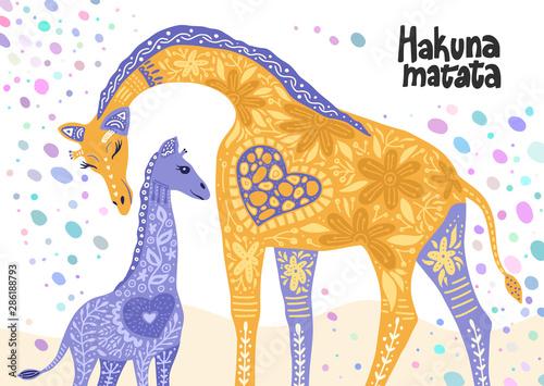 Fototapeta artoon giraffe vector flat illustration in scandinavian style