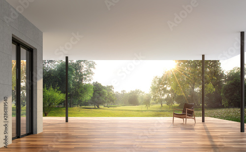 Obraz Empty contemporary terrace with garden view 3d render, There are wooden floor and concrete tile wall, funished with leather chair,looking out over the large garden in the morning. - fototapety do salonu