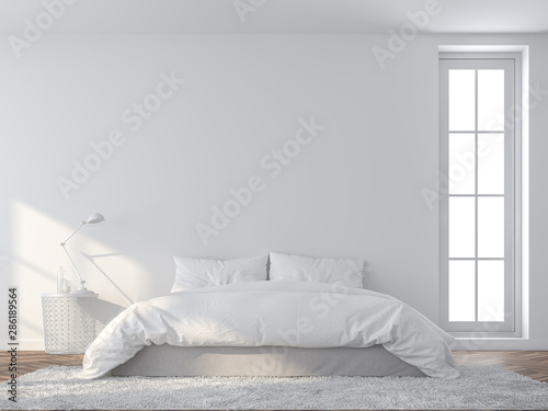 Bright white bedroom 3d render,There are wooded floor and  white empty wall,Furnished with white bed set Tapéta, Fotótapéta