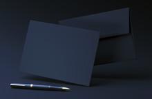 Black Envelope On Dark Background. Premium Envelope Mock Up. A6 Envelope With Blank Invitation Card. 3d Rendering Illustration
