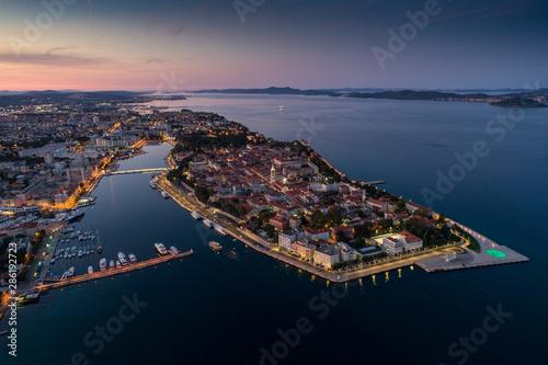 Recess Fitting Mediterranean Europe Zadar at night, aerial photo,