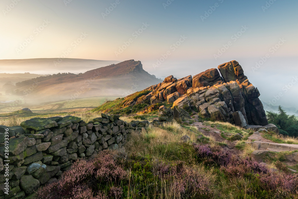 Fototapeta The Roaches in the Peak District National Park England during a summer sunrise
