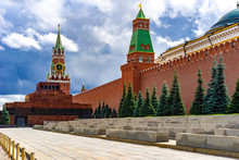 Russia. Moscow. Kremlin. Red Square. Mausoleum. Kremlin Wall. View Of The Russian Capital On A Summer Day. Architecture Of The Cities Of The Russian Federation. Poster Of The Capital Of Russia.