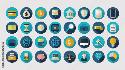 Valokuva finance business icons flat design