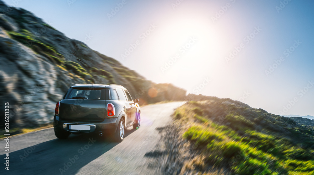 Fototapety, obrazy: rental car in spain mountain landscape road at sunset