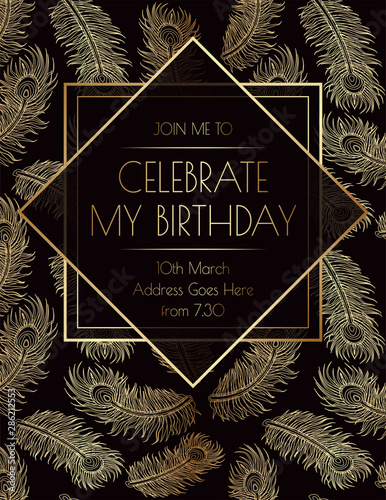 Feather Gatsby Art Deco Invitation Print Design