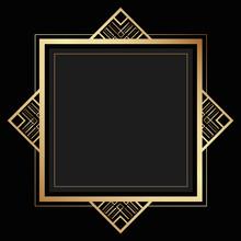 Gold Polygonal Black Elegant Background Border Frame Design
