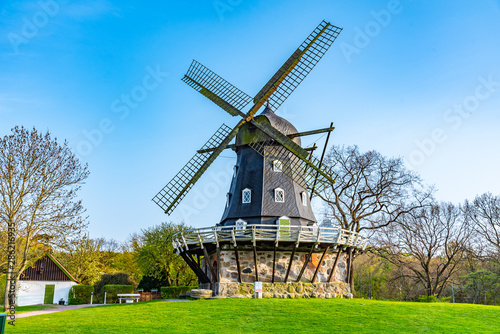 Tuinposter Molens Medieval wind mill near Malmo castle in Sweden