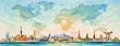 Leinwanddruck Bild - Travel around the world to asia, europe, america. Famous landmarks.