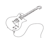 Continuous One Line Drawing Of Electric Guitar Music Instrument Vector Symbol For Rock And Hardcore Theme Song