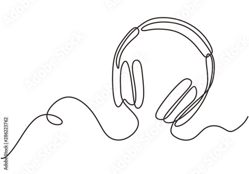 Photographie Headphones music and technology symbols Vector illustration isolated on white background