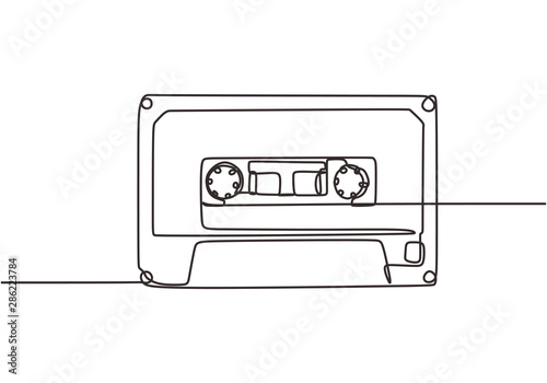 Tableau sur Toile One single line drawing cassette tape