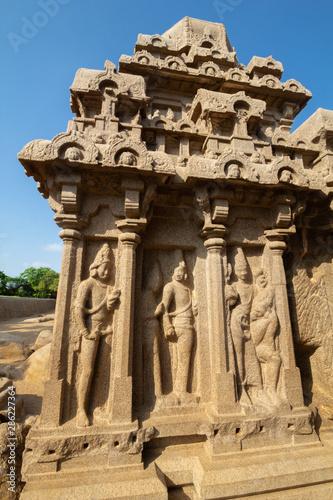 Five Ratha, Mamallapuram (Mahabalipuram), Detail On Arjuna Ratha, Mahabalipuram Fototapet