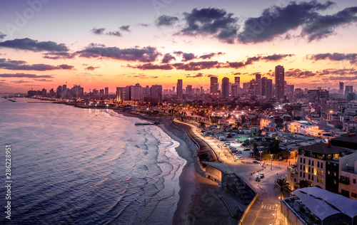 Fotografie, Tablou  Pre dawn view of Tel Aviv from Jaffa in a summer morning in Israel