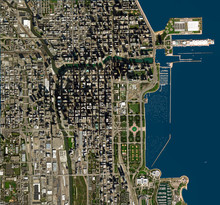 High Resolution Satellite Image Of Chicago, USA (Isolated Imagery Of USA. Elements Of This Image Furnished By NASA)
