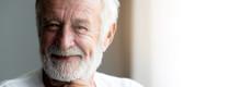 Happy Senior Man Portrait. Bearded Man. Wonderful Smile. With Light Leaks. Banner Frame.