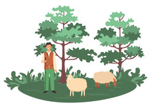 Man With Sheep Vector, Person ...