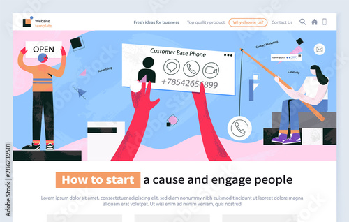 Obraz na plátně How to start cause and engage people vector with phone number of client customer