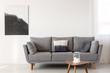 Leinwandbild Motiv Grey scandinavian sofa in bright living room interior
