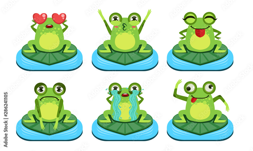 Fototapety, obrazy: Green Funny Frog Characters Set, Cute Amphibian in Different Activities Vector Illustration