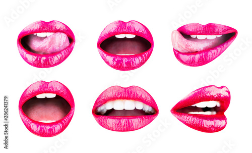 Red lip, set mouth Poster Mural XXL