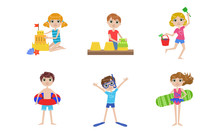 Summer Kids Outdoor Activities Set, Boys And Girls Swimming, Playing With Sand, Making Sandcastle Vector Illustration