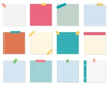 Note Paper Or Sticky Note Vector Set