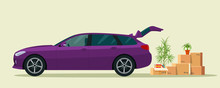 Things In The Box Next To The Trunk Of The Station Wagon Car. Vector Flat Style Illustration.