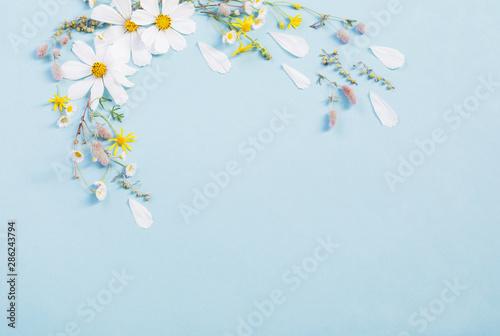 white flowers on paper background Wallpaper Mural