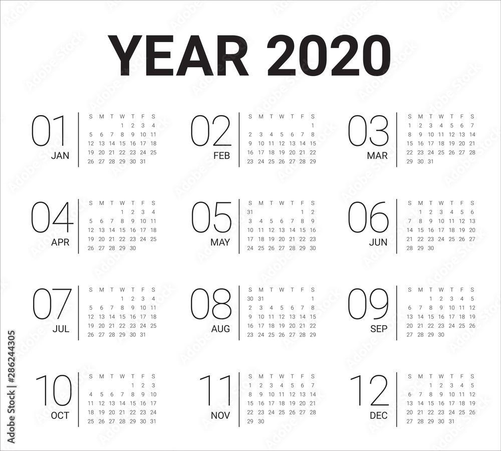 Fototapeta Year 2020 calendar vector design template