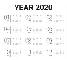 Year 2020 Calendar Vector Desi...