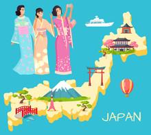 Japan Map With Landmark, Mountain And Sakura, Torii And Kyoto. Smiling Geisha In National Dress Kimono Making Selfie, Japanese Architecture, Female Vector. Flat Cartoon