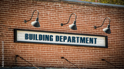 Fotomural  Street Sign Building Department