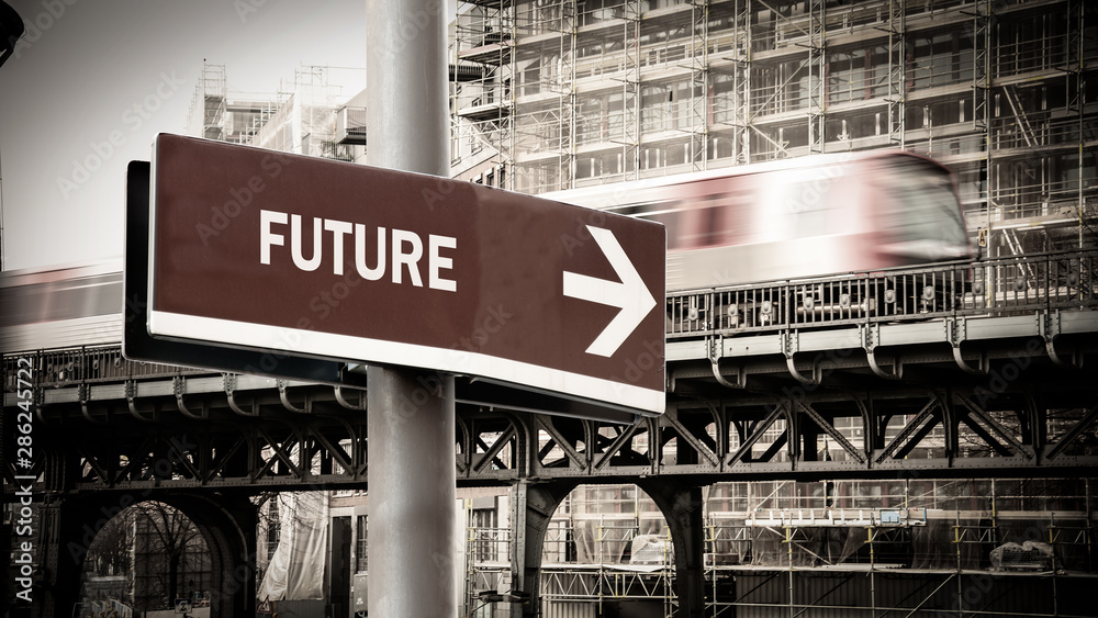 Fototapety, obrazy: Street Sign to Future