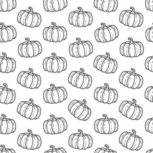 Vector Doodle Of Pumpkin Seamless Pattern.