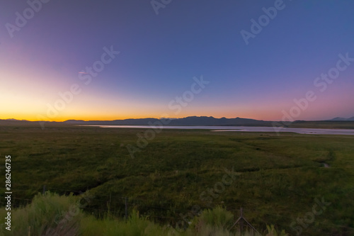 Photo  Sunset Over Beautiful Lake Crowley