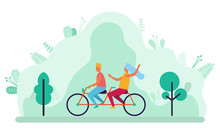 Young Couple Riding Double Bicycle In Park. People On Tandem Bike. Man And Woman Cycling Together, Outdoor Sport, Family Leisure, Summer Activities Vector. Flat Cartoon