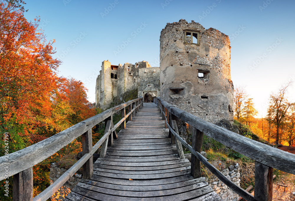 Fototapety, obrazy: Slovakia - ruin of castle Uhrovec at nice autumn sunset landscape