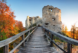 Slovakia - ruin of castle Uhrovec at nice autumn sunset landscape - 286247791