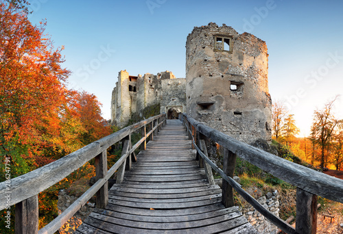 Poster Taupe Slovakia - ruin of castle Uhrovec at nice autumn sunset landscape