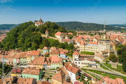 Fotografie, Tablou  Aerial drone view of Sighisoara old city, Romania