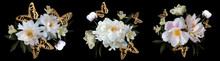White Peonies And Golden Butterflies. Bouquets Set.