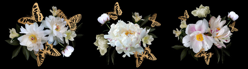Fototapeta Vintage White peonies and golden butterflies. Bouquets set.