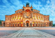 Leinwandbild Motiv Dresden - Germany - Semper opera in the night